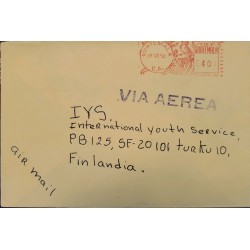 A) 1981, GUATEMALA, METER STAMP, QUETZAL, AIRMAIL, SHIPPED TO FINLAND, XF