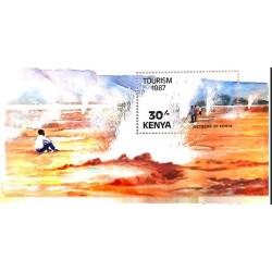 A) 1987, KENYA, TOURISM, GEISER, MULTICOLORED, MINISHEET