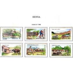 A) 1988, KENYA, TOURIST ACCOMMODATION SAMBURU, NARO MURO, MARA SERENA, SAFARI VOI, KILIMANJARO, MERU MULIKA, SET OF 6