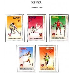 A) 1988, KENYA, OLYMPIC GAMES SEOUL 88 HANDBALL, JUDO, HALTEROPHILIA, JABALINE, RELAYS 4 X 400, SET OF 5 STAMPS, MULTICOLORED