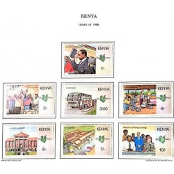 """A) 1988, KENYA, SET OF 7 STAMPS, ANNIVERSARY OF THE """"NYAYO"""" ERA: OPENING CHAIRMAN MOI"""