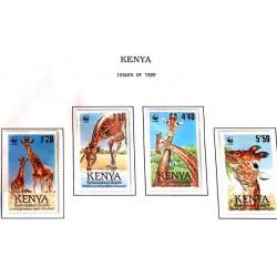 A) 1989, KENYA, THE DRUNK GIRAFFE, SET OF 4, WWF, MINISHEET, MULTICOLORED