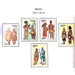 A) 1989, KENYA, CEREMONIAL SUITS KIPSIGIS, RABAI, DURUMA, KURIA, BAJUNI, SET OF 5 AND MULTICOLORED STAMPS