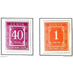 A) 1967, KENYA, POSTAGE DUE, 40C, 1SH, ORANGE AND PURPLE