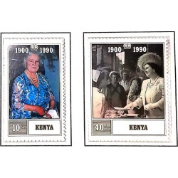 A) 1990, KENYA, ANNIVERSARY OF THE QUEEN MOTHER ELIZABETH 1.900-2.002, SET OF 2 STAMPS