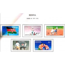A) 1991, KENYA, BASKETBALL, GRASS HOCKEY, TABLE TENNIS, BOXING, OLYMPIC GAMES BARCELONA: NATIONAL FLAG, MULTICOLORED
