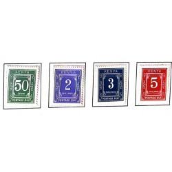 A) 1967, KENYA, POSTAGE DUE, GREEN 50c, BLUE 2ksh, NAVY BLUE 3ksh, RED 5ksh, XF, SET OF 4 STAMPS