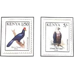 A) 1993, KENYA, BIRDS: ROSS TURACO AND PIGARGO VOCINGLERO, SET OF 2, MULTICOLORED