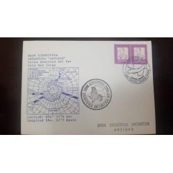 A) 1934, URUGUAY, ARTIGAS ANTARCTIC SCIENTIFIC BASE, WITH WINTER FIRST FLIGHT SEAL, GRAL. RIVERA, XF