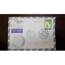 A) 1992, URUGUAY, ARTIGAS ANTARCTIC SCIENTIFIC BASE, AIRMAIL, 160 YEARS OF THE MANAGEMENT OF TOPOGRAPHY STAMP