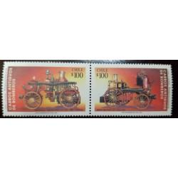A) 1993, CHILE, OLD FIRE TRUCKS, MNH, CANADIAN TRUCK LA CLARITA 1902, BRITISH TRUCK ARTURO PRAT 1872, MULTICOLORED