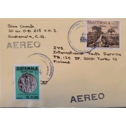 A) 1985, GUATEMALA, ENTIRE LETTER FROM GUATEMALA TO FINLAND, ADDRESSED TO INTERNATIONAL YOUTH SERVICE,