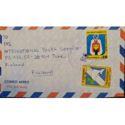A) 1985, GUATEMALA, LETTER SHIPPED TO FINLAND, AIRMAIL, CENTRAL AMERICAN BANK FOR ECONOMIC INTEGRATION STAMPS