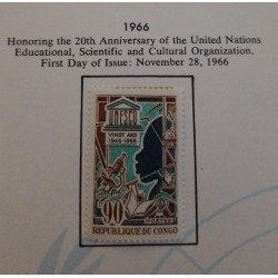 J) 1966 CONGO, HONORING THE 20TH ANNIVERSARY OF THE UNITED NATIONS EDUCATIONAL, SCIENTIFIC AND CULTURAL ORGANIZATION