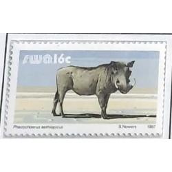 A) 1987, SOUTH-WEST AFRICA, WILD JABALI, ARTIODACTILE MAMMAL, 16c PHACOCHOERUS, MNH, MULTICOLORED
