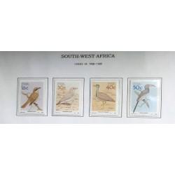 A) 1988, SOUTH-WEST AFRICA, BIRDS, SCOTT 606-609, 16c FLY PADDY HERERO, 30c GRAY LARK