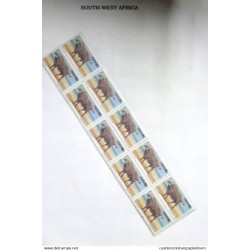 A) 1985, SOUTH-WEST AFRICA, BUFFALO CAFRE, MULTICOLORED, BLOCK OF 10, PERFORATED