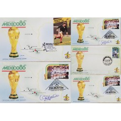 J) 1986 ST VINCENT, MAP, OFFICIAL COMMEMORATIVE COVER, TROPHY, SOCCER WORLD CHAMPIONSHIP OF MEXICO, SET OF 5, FDC
