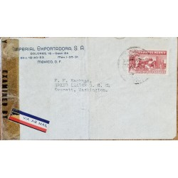 J) 1943 MEXICO, EAGLEMAN OVER MOUNTAINS, OPEN BY EXAMINER, AIRMAIL, CIRCULATED COVER, FROM MEXICO TO WASHINGTON