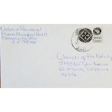J) 1980 MEXICO, MEXICO EXPORT, WROUGHT IRON, AIRMAIL, CIRCULATED COVER, FROM MEXICO TO CALIFORNIA
