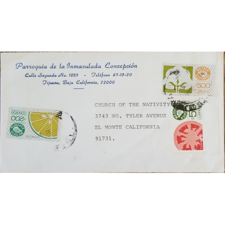 J) 1984 MEXICO, MEXICO EXPORT, COTTON, TOMATO, MULTIPLE STAMPS, AIRMAIL, CIRCULATED COVER, FROM TIJUANA TO CALIFORNIA