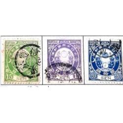 L) 1877 JAPAN, JAPANESE EMPIRE STAMPS. GREEN 15 SEN, PURPLE 10 SEN, BLUE, OLD KOBAN, THREE STAMPS