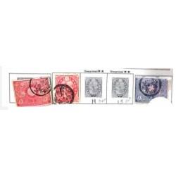 L) 1877 JAPAN, JAPANESE EMPIRE STAMPS, RED, PINK, SEN, GRAY, OVERPRINTED