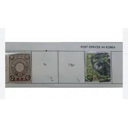 L) 1906 JAPAN, IMPERIAL CHRYSANTHEMUM, LIGHT GREEN, 2S, 5S, YEN, BROWN&GRAY