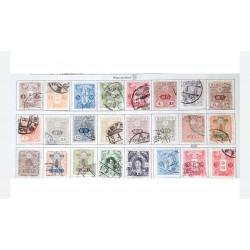 L) 1914 - 1937 JAPAN, WATERMARKED, CHRYSANTHEMUM, JAPANESE EMPIRE STAMPS, TAZAWA, 10 SEN, BLUE, 7S ORANGE, 50S