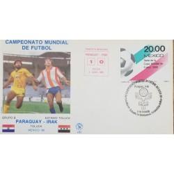 J) 1986 MEXICO, WORLD FOOTBALL CHAMPIONSHIP MEXICO, PARAGUAY-IRAQ, FDC