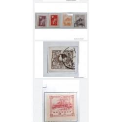 L) 1919 -1923 JAPAN, DOVE, 1 1/2S, BROWN, SCOTT 162 3s ROSE, ARCHITECTURE, SCOTT 159 1 1/2s RED VIOLET