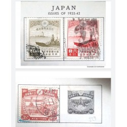 """L) 1935 - 1942 JAPAN, """" WHITE TOWER OF LIAOYANG AND WARSHIP, SCOTT 218 1 1/2S OLIVE GREEN, RED, BOAT, 6SEN, 3SEN"""