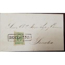 J) 1856 MEXICO, 2 REALES GREEN, MOCORITO SINALOA, CIRCULATED COVER, FROM MEXICO TO SINALOA