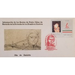 J) 1987 MEXICO, INHUMATION OF THE REMAINS OF PEDRO SAINZ DE BARANDA IN THE ROUNDABOUT OF ILLUSTRIOUS MEN, FDC