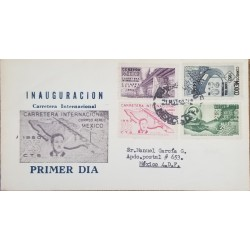 J) 1950 MEXICO, INAUGURATION OF THE INTERNATIONAL ROAD, MAP, RAILWAY, MULTIPLE STAMPS, FDC