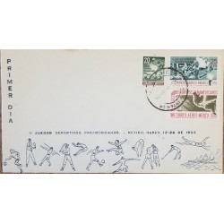 J) 1955 MEXICO, II PAN AMERICAN SPORTS GAMES, MAP, MULTIPLE STAMPS, FDC