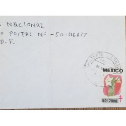 J) 2000 MEXICO, CACTUS, TB SEALS, AIRMAIL, CIRCULATED COVER, FROM MEXICO