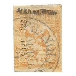 J) 1865 MEXICO, IMPERIAL EAGLE, 2 REALES YELLOW, CIRCULAR CANCELLATION, VERACRUZ DISTRICT