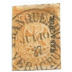 J) 1866 MEXICO, IMPERIAL EAGLE, 2 REALES YELLOW, FIRST PERIOD, CIRCULAR CANCELLATION, VERACRUZ DISTRICT