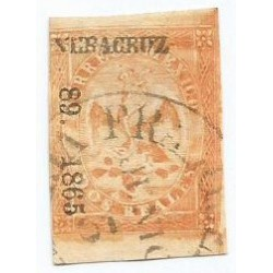 J) 1865 MEXICO, IMPERIAL EAGLE, 2 REALES YELLOW, CIRCULAR CANCELLATION, IV PERIOD, VERACRUZ DISTRICT