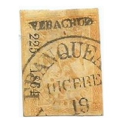 J) 1864 MEXICO, IMPERIAL EAGLE, 2 REALES YELLOW, III PERIOD, CIRCULAR CANCELLATION, VERACRUZ DISTRICT