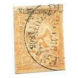 J) 1865 MEXICO, IMPERIAL EAGLE, 2 REALES YELLOW, III PERIOD, CIRCULAR CANCELLATION, VERACRUZ DISTRICT