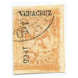 J) 1865 MEXICO, IMPERIAL EAGLE, 2 REALES YELLOW, IV PERIOD, CIRCULAR CANCELLATION, VERACRUZ DISTRICT
