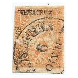 J) 1865 MEXICO, IMPERIAL EAGLE, 2 REALES YELLOW, IV PERIOD, CIRCULAR CANCELLATION, VERACRUZ DISTRIC