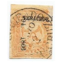 J) 1866 MEXICO, IMPERIAL EAGLE, 2 REALES YELLOW, V PERIOD, CIRCULAR CANCELLATION, VERACRUZ DISTRICT