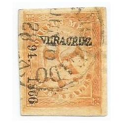 J) 1866 MEXICO, IMPERIAL EAGLE, 2 REALES YELLOW, CIRCULAR CANCELLATION, VERACRUZ DISTRICT