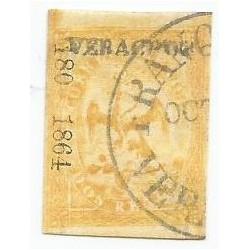 J) 1864 MEXICO, IMPERIAL EAGLE, 2 REALES YELLOW, CIRCULAR CANCELLATION, VERACRUZ DISTRICT