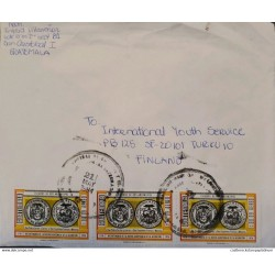 A) 1984, GUATEMALA, ARCHBISHOPS 'SHIELDS, FROM SAN CRISTOBAL TO FINLAND, AIRMAIL