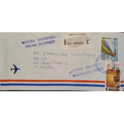 A) 1983, GUATEMALA, RAILWAYS, COVER SHIPPED FINLAND, CONGRESS VOTING INDEPENDENCE, AIRMAIL, SPECIAL DELIVERY, REGISTERED