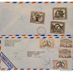 A) 1976, GUATEMALA, COATS OF ARMS, FROM VISTA HERMOSA TO TURKU – FINLAND, AIRMAIL